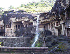 waterfall at ellora caves